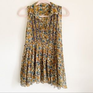 Free People Sheer Floral Sleeveless Blouse Small